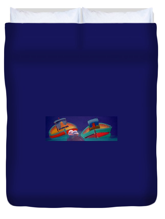 Storm Duvet Cover featuring the painting Storm Horizon by Charles Stuart