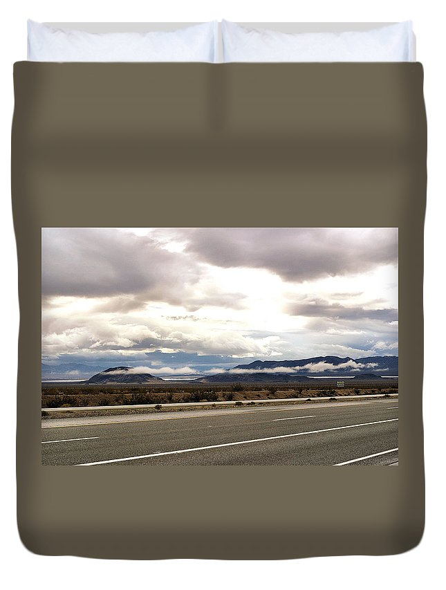 Desert Duvet Cover featuring the photograph Storm In The Desert by Bill Mollet