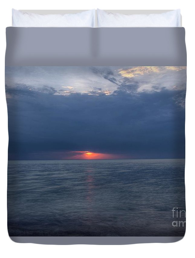 Grand Bend Duvet Cover featuring the photograph Storm On Fire by John Scatcherd