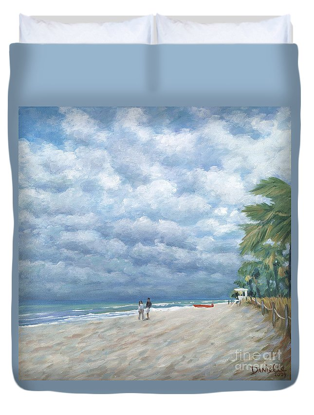 Fort Lauderdale Duvet Cover featuring the painting Storm On The Horizon by Danielle Perry