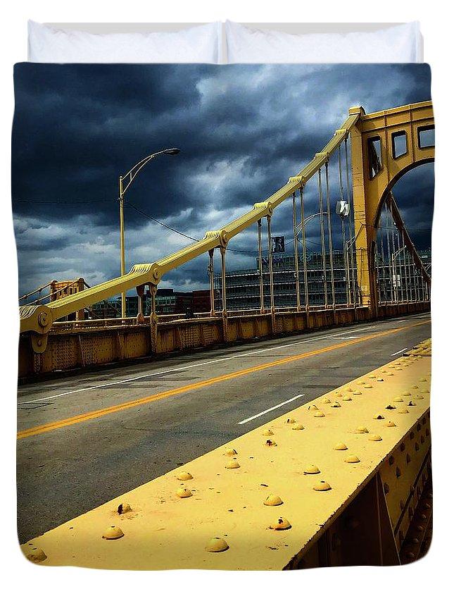Bridge Duvet Cover featuring the photograph Storm Over Bridge by Nikki Wiser