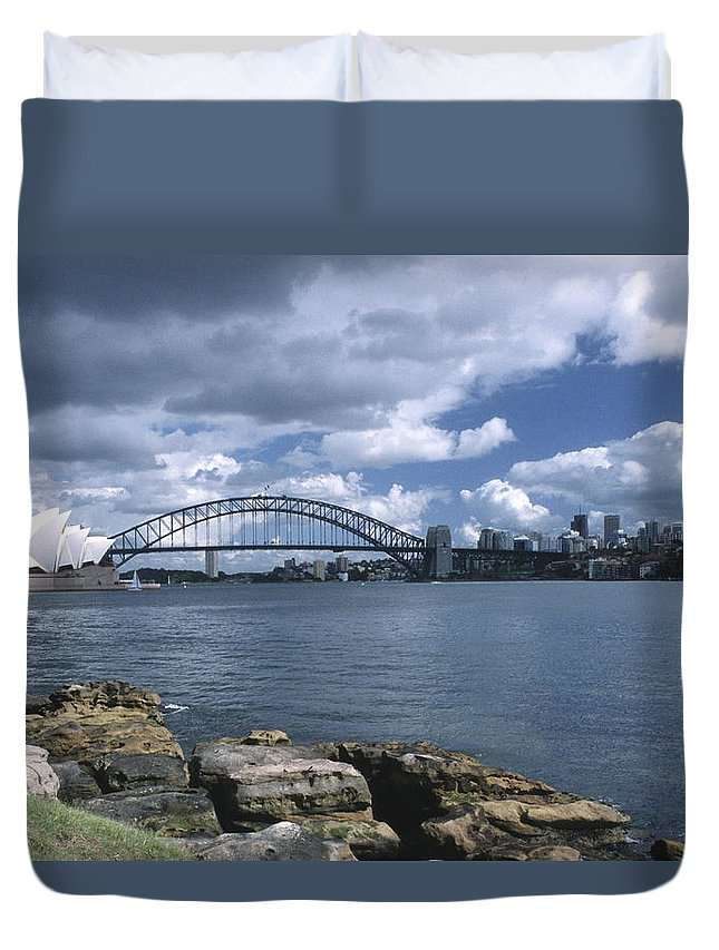 Australia Duvet Cover featuring the photograph Storm Over Sydney Harbor by Sandra Bronstein