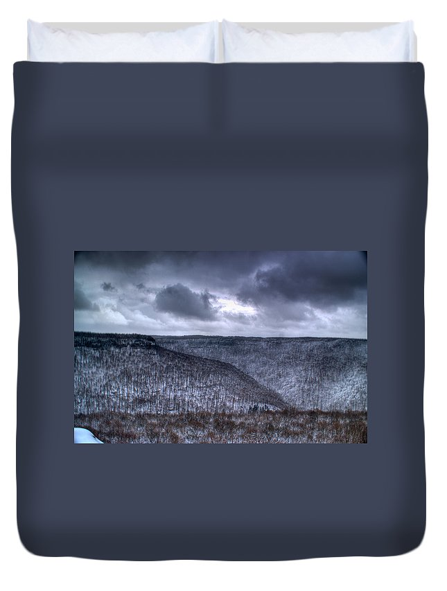 Mesa Duvet Cover featuring the photograph Storm Over The Mesa by Douglas Barnett
