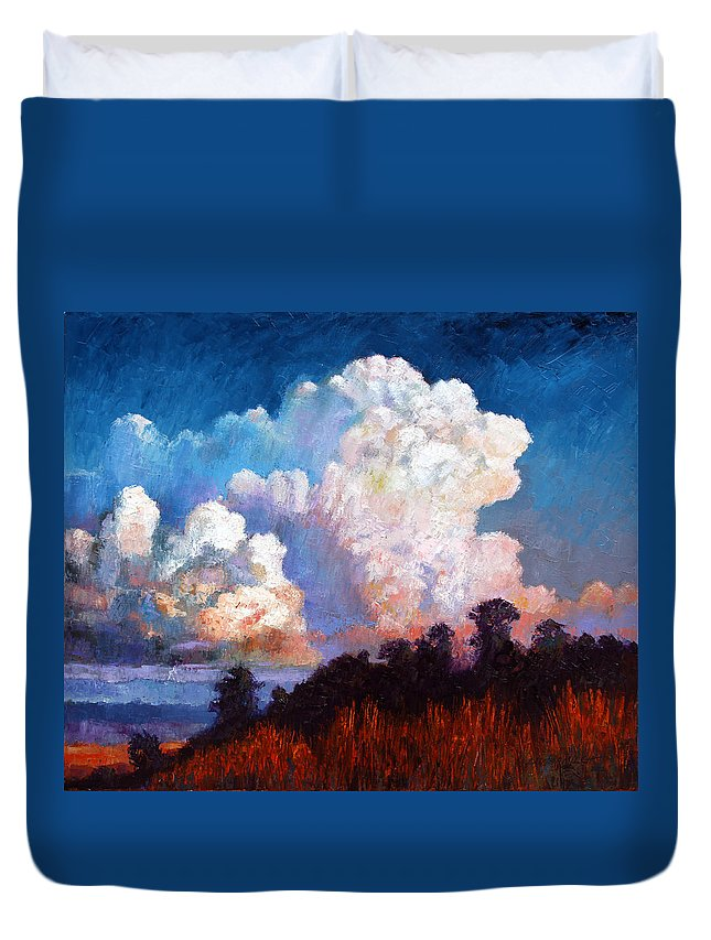 Clouds Duvet Cover featuring the painting Storm Rolling In by John Lautermilch