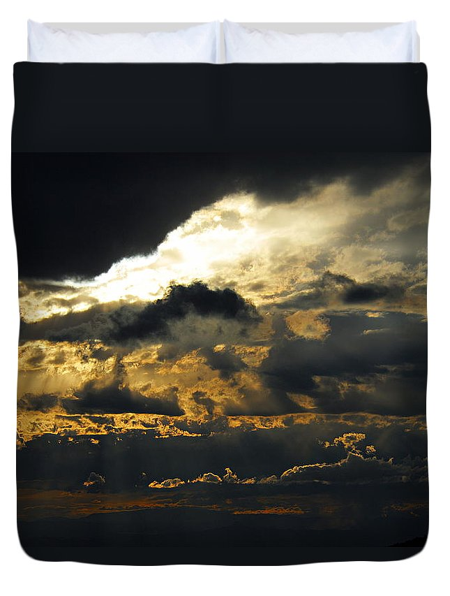 Storm Clouds Duvet Cover featuring the photograph Storm Rolling In by Larry Ricker