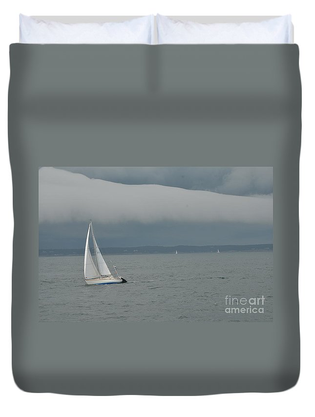 New England Duvet Cover featuring the photograph Storm Rolls In by Catherine Reusch Daley