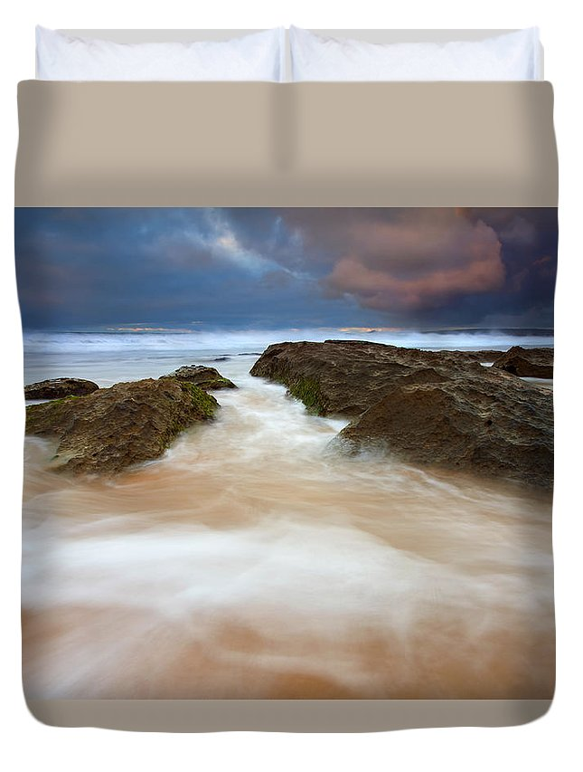 Seascape Duvet Cover featuring the photograph Storm Shadow by Mike Dawson