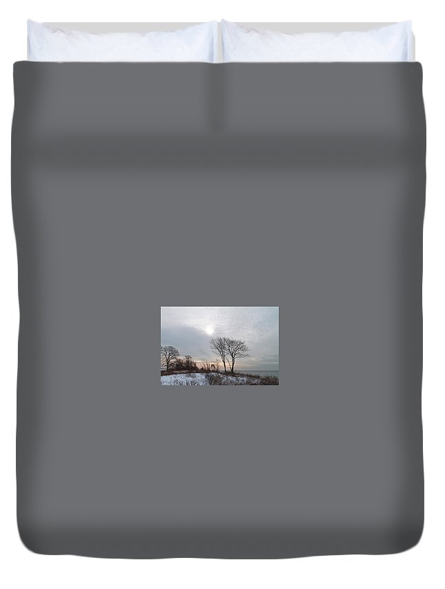 Landscape Duvet Cover featuring the photograph Storm Trilogy--three Harkness Memorial State Park by Geneva Renegar