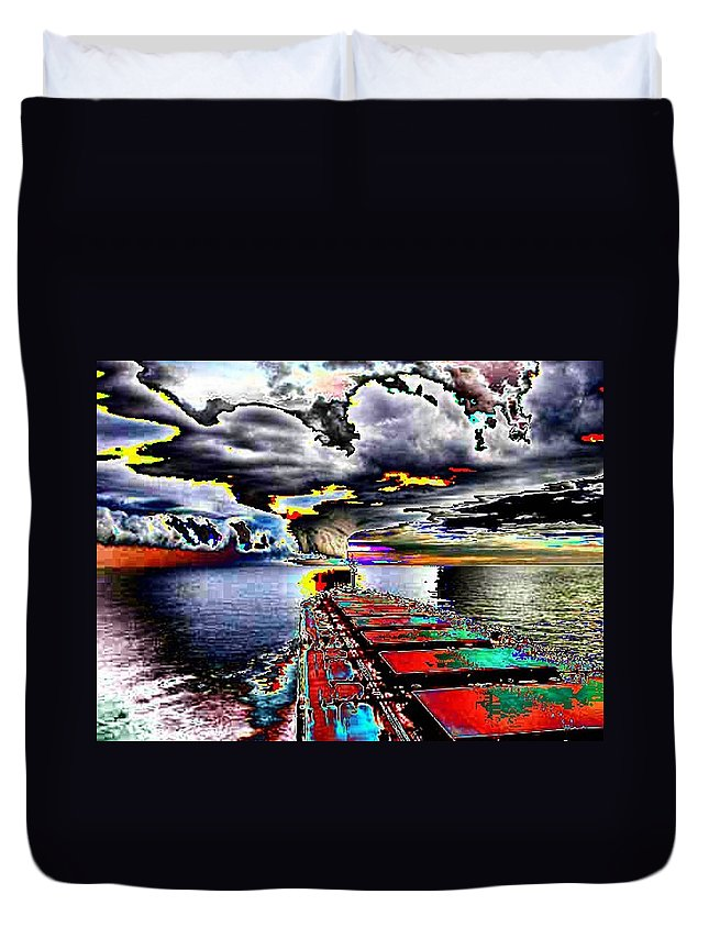 Storm Clouds Duvet Cover featuring the photograph Storm Warning by Tim Allen