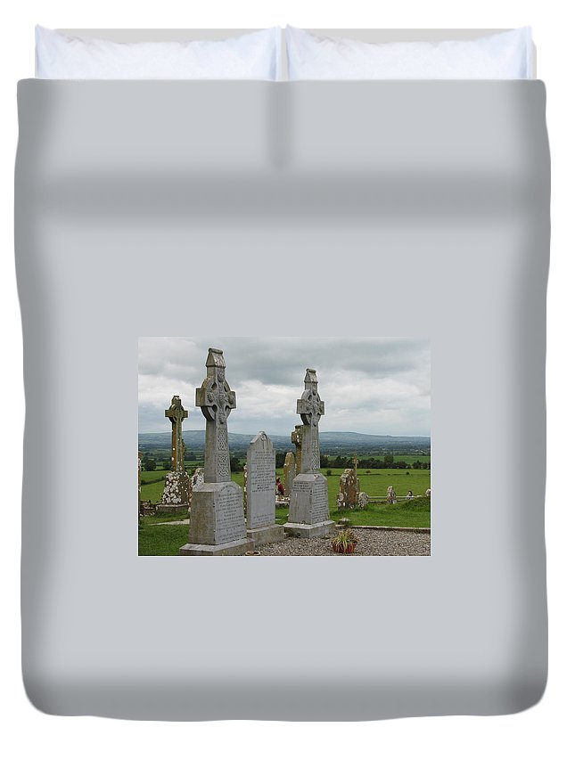 Celtic Cross Duvet Cover featuring the photograph Storms Comming by Kelly Mezzapelle