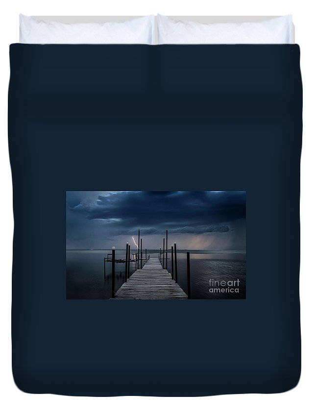 Dock Duvet Cover featuring the photograph Storms On The Dock by Randy Kostichka