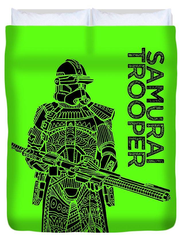 Stormtrooper Duvet Cover featuring the mixed media Stormtrooper - Green - Star Wars Art by Studio Grafiikka