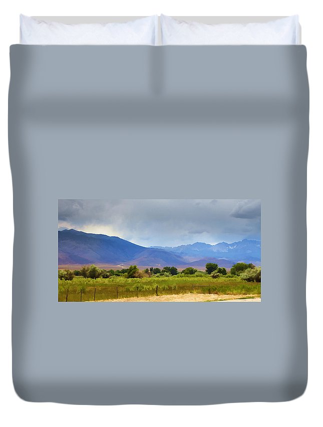 California Duvet Cover featuring the photograph Stormy California Mountains by Ricky Barnard