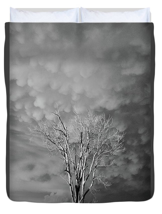 Black And White Duvet Cover featuring the photograph Stormy Evening by Justin Langford