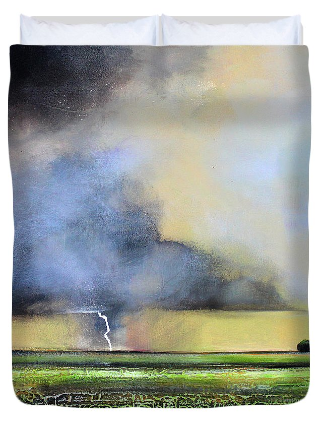 Storm Duvet Cover featuring the painting Stormy Field by Toni Grote