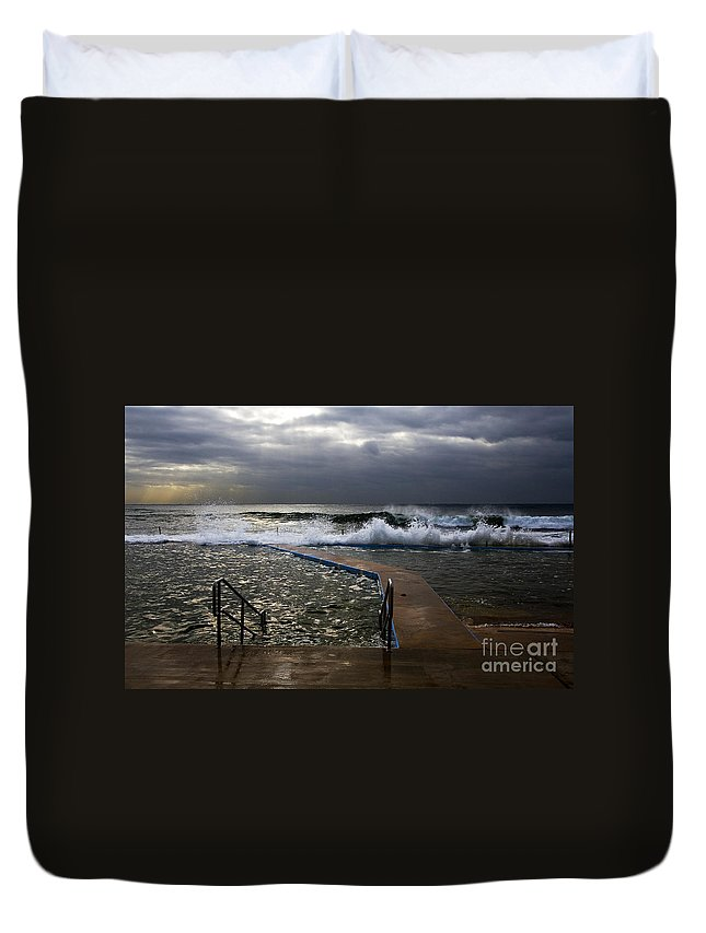 Storm Clouds Collaroy Beach Australia Duvet Cover featuring the photograph Stormy Morning At Collaroy by Sheila Smart Fine Art Photography