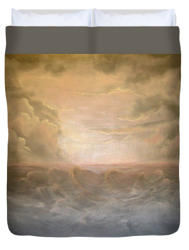 Pink And Gray Tones Duvet Cover featuring the painting Stormy Night by Sandy Dusek