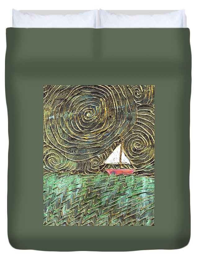 Storm Duvet Cover featuring the painting Stormy Night by Wayne Potrafka