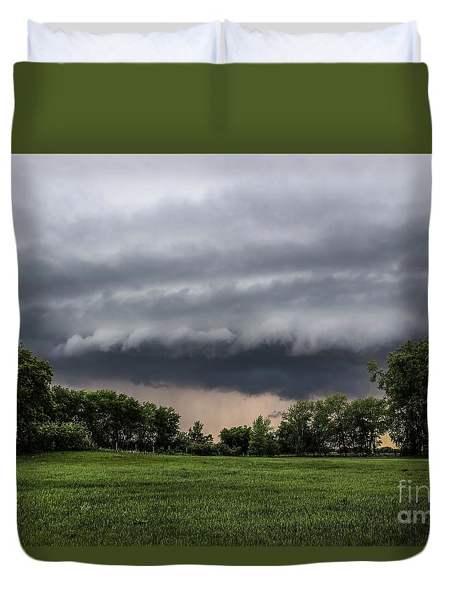 Storm Duvet Cover featuring the photograph Stormy Pasture by Francis Lavigne-Theriault