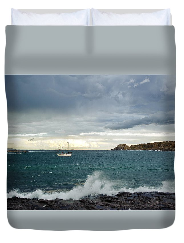 Storm Duvet Cover featuring the photograph stormy Sardinia by Marco Vissani