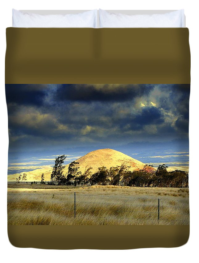Cinder Duvet Cover featuring the photograph Stormy Skies Over Sunset Cinder Cone by Lori Seaman