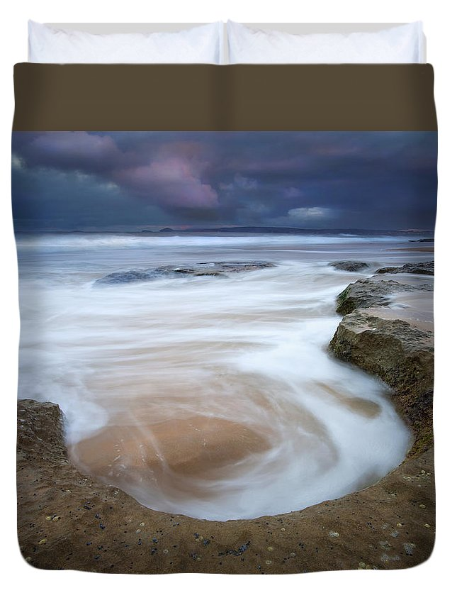 Sunrise Duvet Cover featuring the photograph Stormy Sunrise by Mike Dawson
