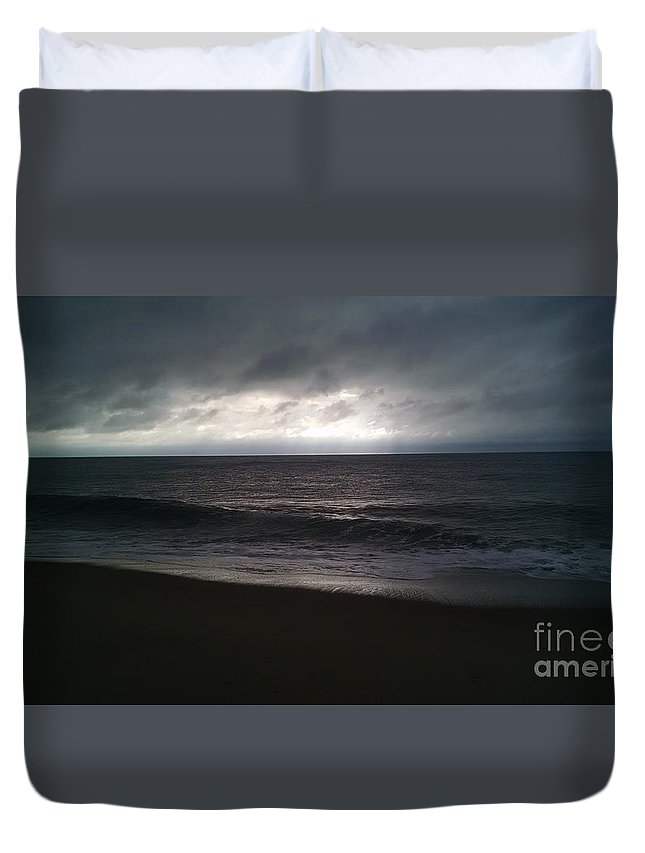 Beach Duvet Cover featuring the photograph Stormy Sunrise by Tara West