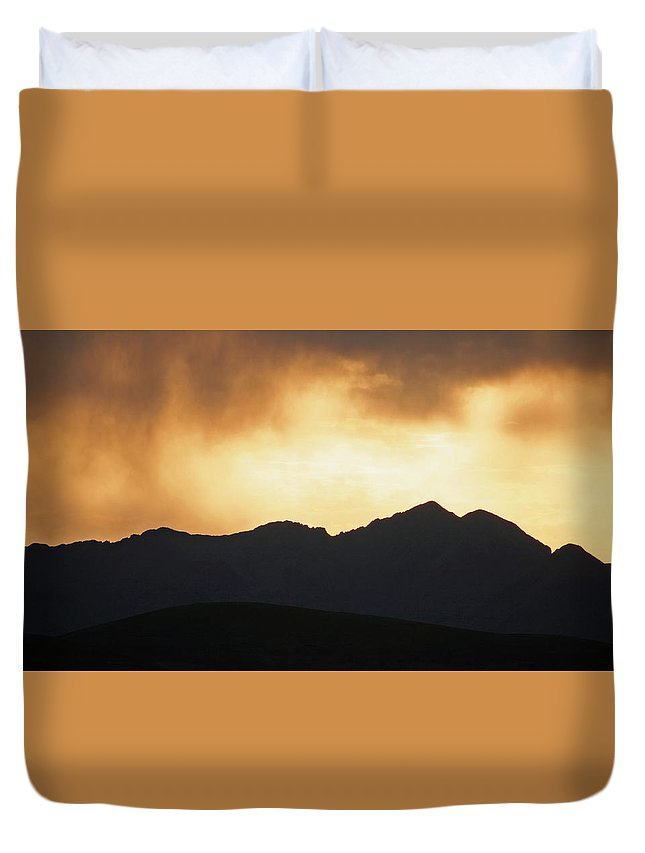 Landscape Duvet Cover featuring the photograph Stormy Sunset by Gregory Yost