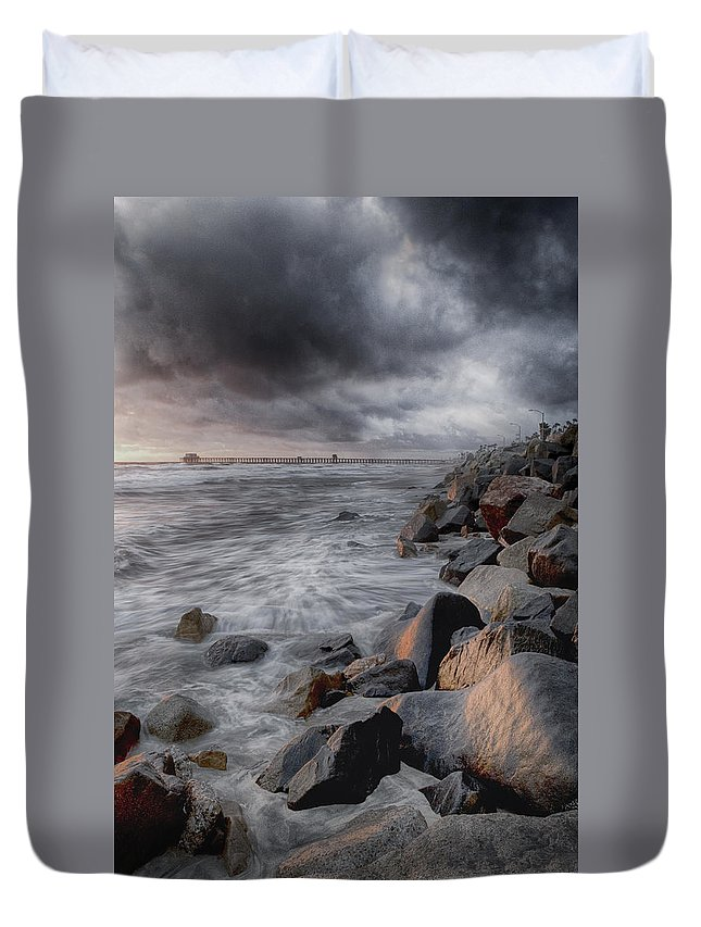 Oceanside Duvet Cover featuring the photograph Stormy Weather by Nicole Swanger