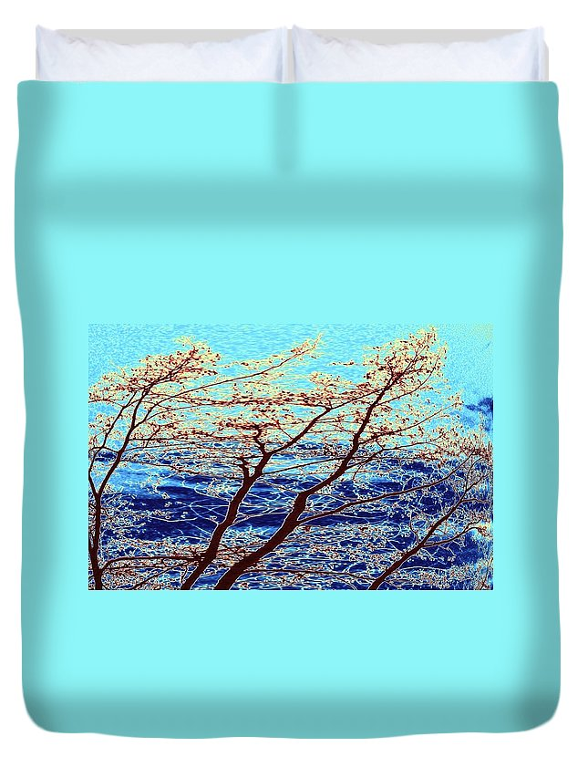Trees Duvet Cover featuring the digital art Stormy Weather by Will Borden
