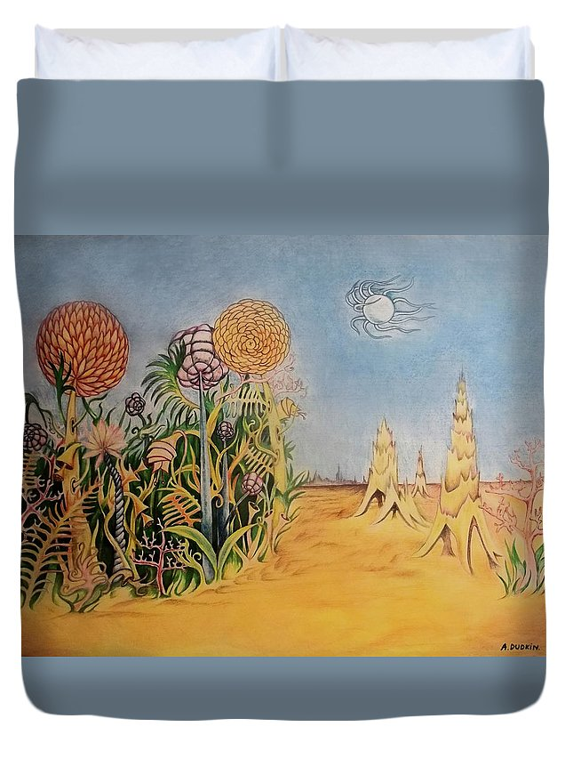Fantastic Realm Duvet Cover featuring the painting Story Land 2 by Alexander Dudchin