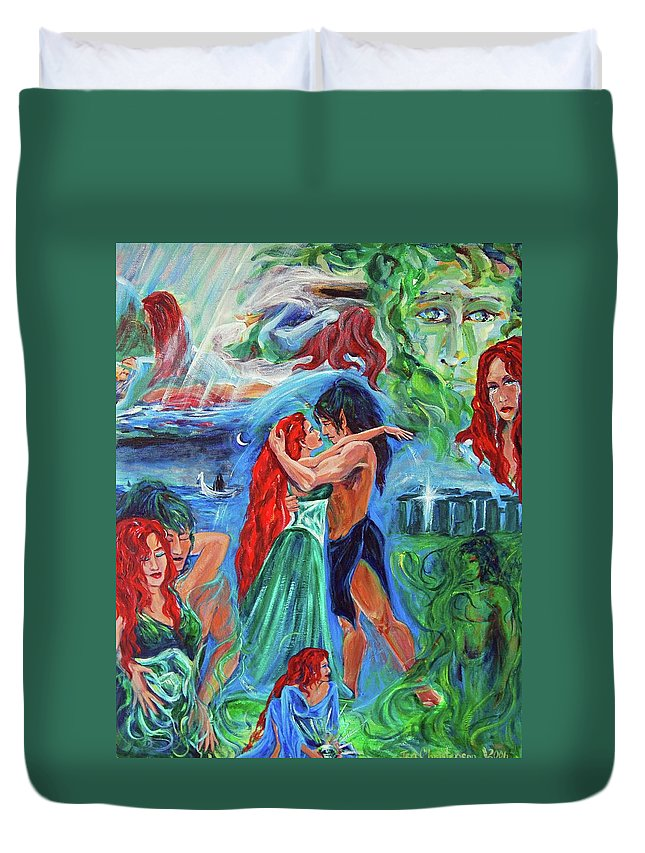 The Aquarian Vaehema Told In Vignettes Duvet Cover featuring the painting Story Of Vaehema by Jennifer Christenson