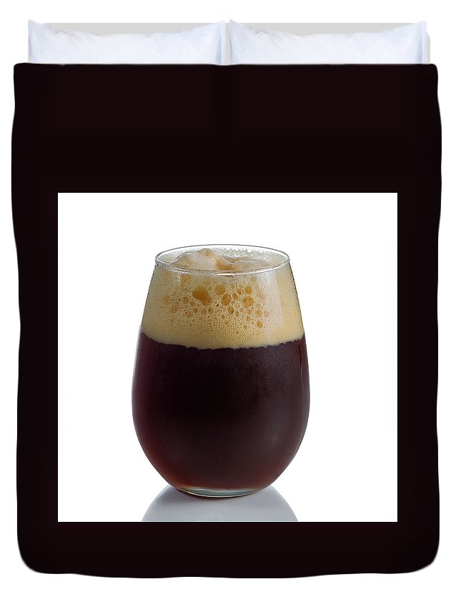 Beer Duvet Cover featuring the photograph Stout Beer In Stemless Glass by Thomas Baker