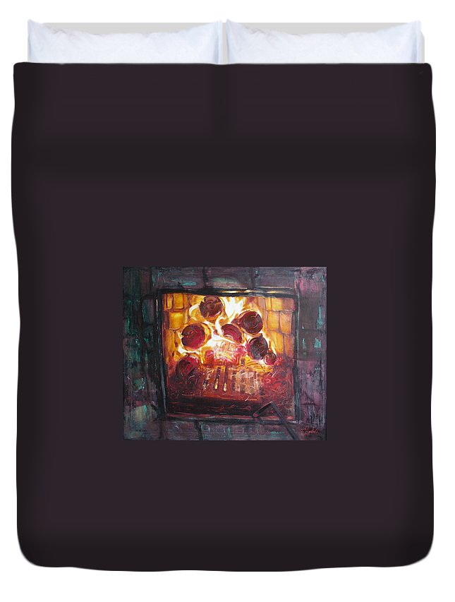 Oil Duvet Cover featuring the painting Stove by Sergey Ignatenko