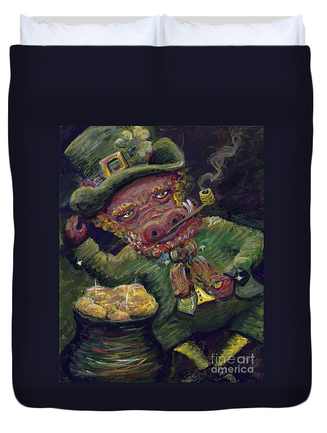 Hog Duvet Cover featuring the painting St.patricks Day Pig by Nadine Rippelmeyer