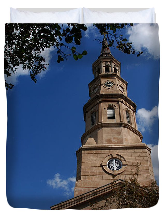 Photography Duvet Cover featuring the photograph St.philips Church Charleston Sc by Susanne Van Hulst