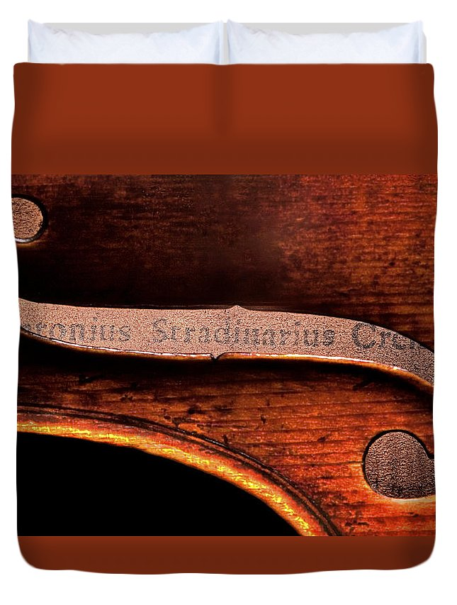 Strad Duvet Cover featuring the photograph Stradivarius Label by Endre Balogh