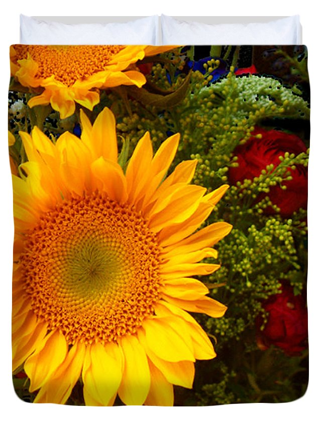 Sunflower Duvet Cover featuring the photograph Straight No Chaser by RC DeWinter