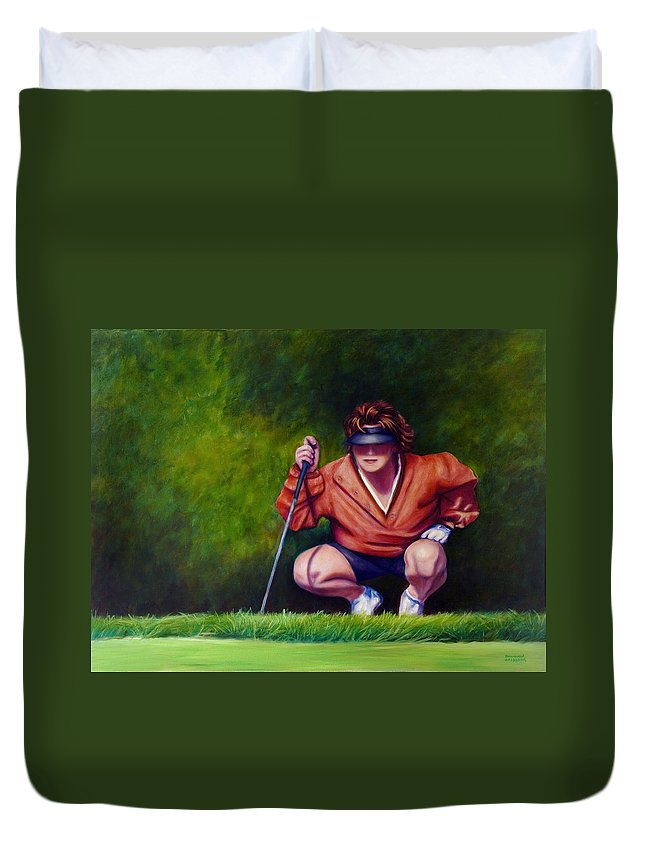 Golfer Duvet Cover featuring the painting Straightshot by Shannon Grissom