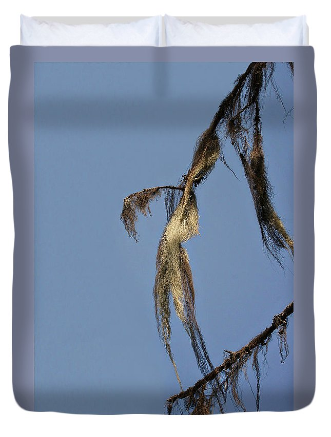 Moss Duvet Cover featuring the photograph Strand Of Moss Swaying Gently With The Wind - Tiger Mountain Wa by Christine Till