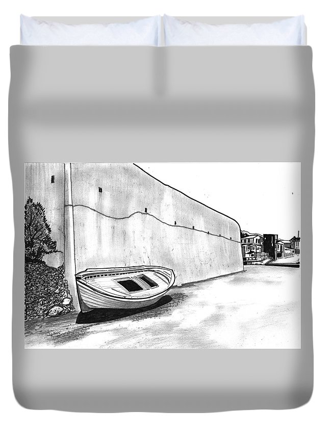 Greece Duvet Cover featuring the drawing Stranded Boat by Keith Spence