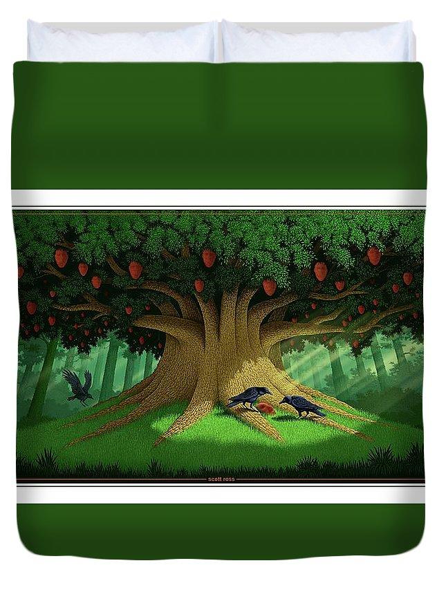 Commentary Duvet Cover featuring the digital art Strange Fruit by Scott Ross