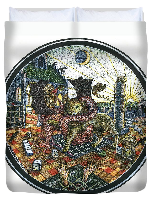 Dragon Duvet Cover featuring the drawing Strange Reverie by Bill Perkins