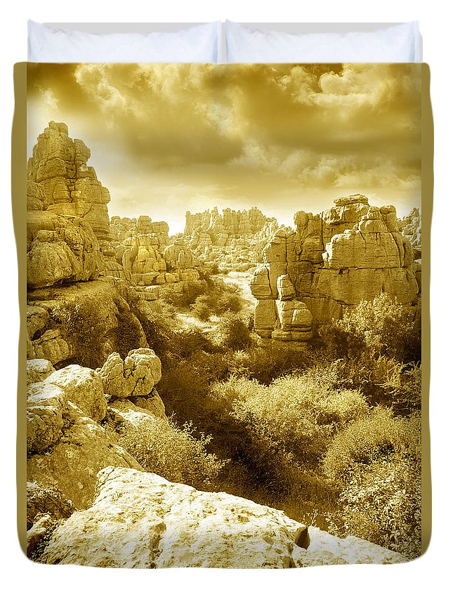 Rock Duvet Cover featuring the photograph Strange Rock Formations At El Torcal Near Antequera Spain by Mal Bray