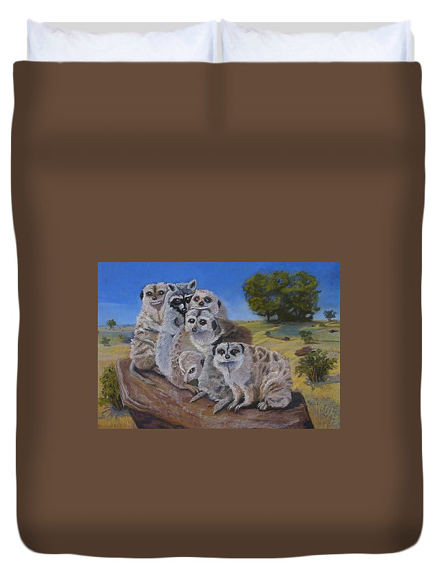 Meer Cat Duvet Cover featuring the painting Stranger In A Strange Land by Heather Coen