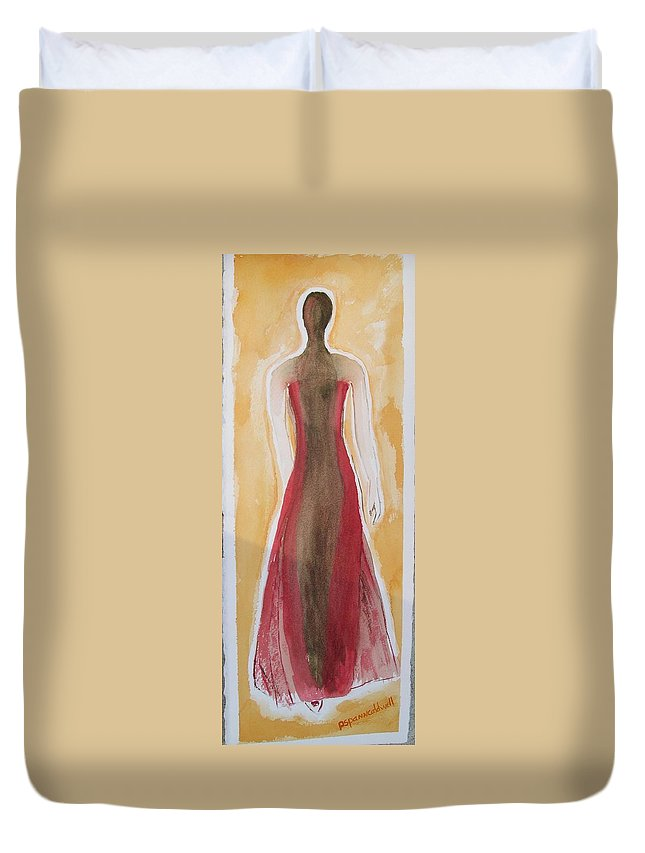 Dress Lady Red Yellow Fashion Duvet Cover featuring the painting Stranger by Patricia Caldwell