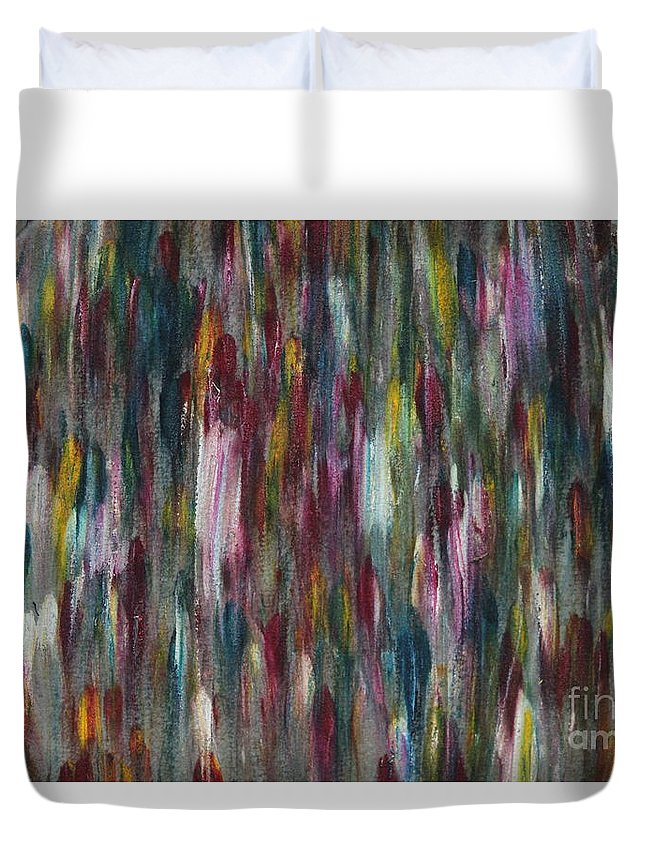 Art Duvet Cover featuring the painting Strangers by Nour Refaat