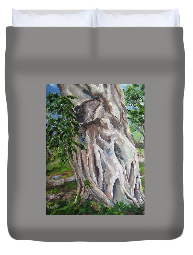 Landscape Duvet Cover featuring the painting Strangler Fig by Lisa Boyd