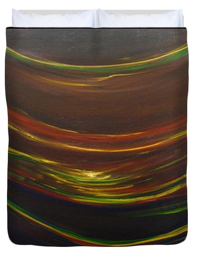 Rainbow Red Yellow Obama Duvet Cover featuring the painting Strata Surf by Jack Diamond