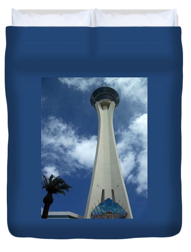 Stratosphere Tower Duvet Cover featuring the photograph Stratosphere Tower by Anita Burgermeister